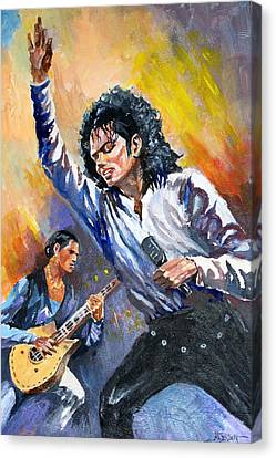 Canvas Print featuring the painting Michael Jacksn In Concert by Al Brown