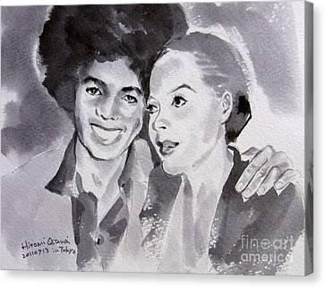 Michael Jackson - Wtih Diana Canvas Print by Hitomi Osanai
