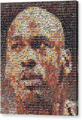 Michael Jordan Card Mosaic 3 Canvas Print by Paul Van Scott