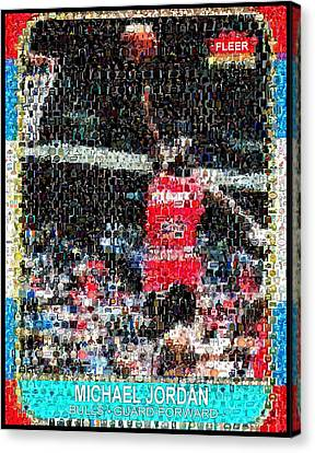 Michael Jordan Rookie Mosaic Canvas Print by Paul Van Scott