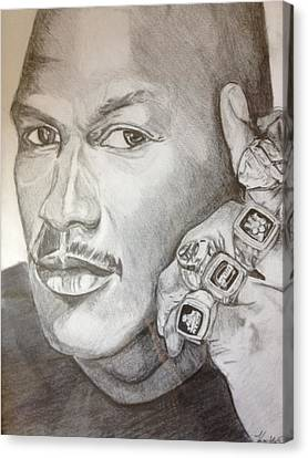 Michael Jordan Six Rings Legacy Canvas Print by Keith Evans