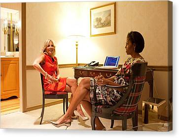 Michelle Obama Canvas Print - Michelle Obama And Dr. Jill Biden Wait by Everett