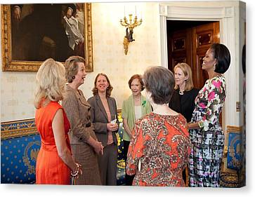 Michelle Obama And Jill Biden Canvas Print by Everett