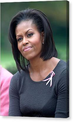 Michelle Obama At The Press Conference Canvas Print