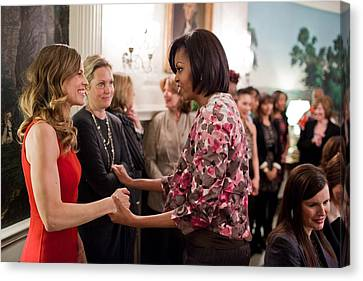 Michelle Obama Greets Actress Hilary Canvas Print