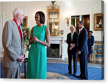 Michelle Obama Laughs With National Canvas Print by Everett