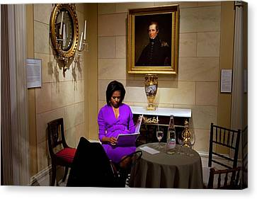Michelle Obama Canvas Print - Michelle Obama Prepares Before Speaking by Everett