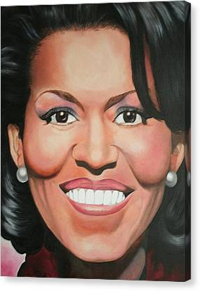 Portraits By Timothe Canvas Print - Michelle Obama by Timothe Winstead