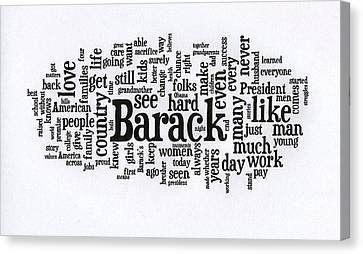 Michelle Obama Wordcloud At D N C Canvas Print