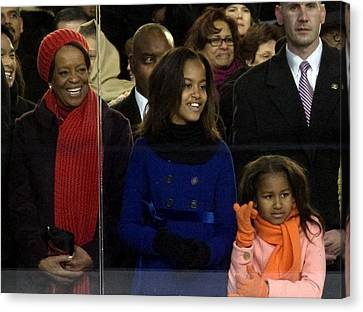 Malia Obama Canvas Print - Michelle Obamas Mother Marian Shields by Everett