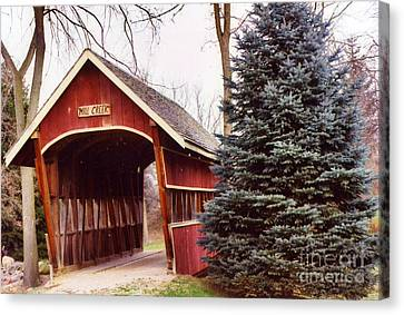 Nature Scene Canvas Print - Michigan Red Covered Bridge Nature Landscape Winter Trees Red Bridge by Kathy Fornal