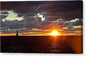 Canvas Print featuring the photograph Michigan Sunset by Randall  Cogle