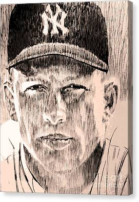 Mickey Mantle Canvas Print by Robbi  Musser