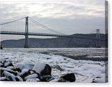 Mid-hudson In Winter Canvas Print by Robert Rizzolo