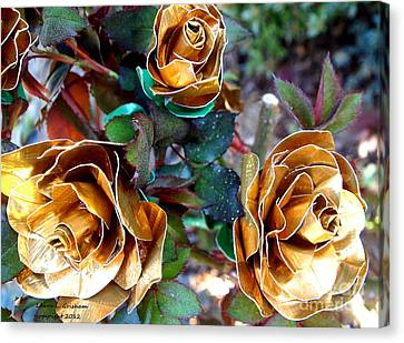 Midas Touch Duck Tape Roses Canvas Print by Laura  Grisham