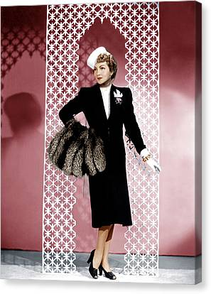 Midnight, Claudette Colbert, In A Black Canvas Print by Everett