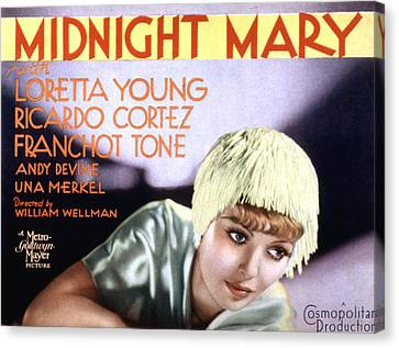 Midnight Mary, Loretta Young, 1933 Canvas Print by Everett