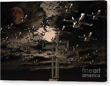 Midnight Raid Under The Golden Moonlight Canvas Print