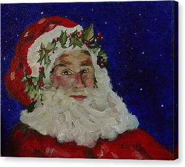 Canvas Print featuring the painting Midnight Santa by Carol Berning