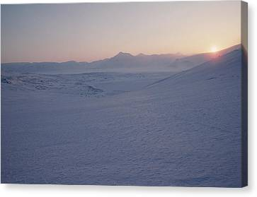 Midnight Sun Hovers Above Polar Canvas Print