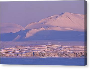 Midnight Sunlight On Polar Mountains Canvas Print by Gordon Wiltsie
