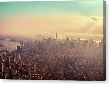 Midtown Manhattan At Dusk Canvas Print by Matthias Haker Photography