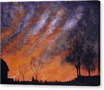 Canvas Print featuring the painting Midwest Sunset by Stacy C Bottoms