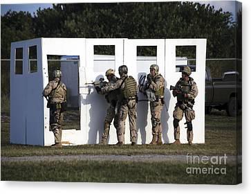 Fort Pierce Canvas Print - Military Reserve Members Prepare by Michael Wood