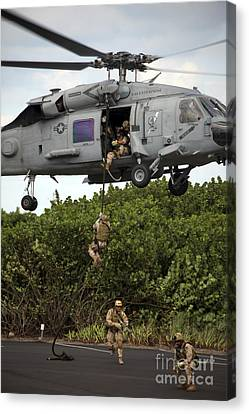 Fort Pierce Canvas Print - Military Reserve Navy Seals Demonstrate by Michael Wood