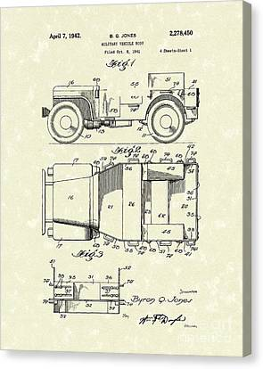 Military Vehicle 1942 Patent Art Canvas Print