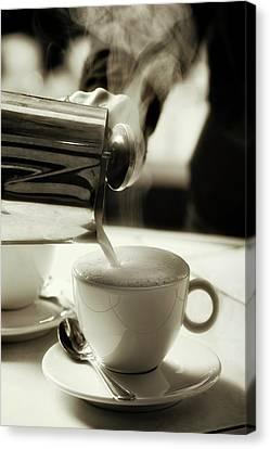Milk Steaming Jug Adding Hot Milk To A Coffee Cup Canvas Print