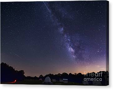 Milky Way And Perseid Meteor Shower Canvas Print by John Davis