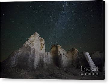 Milky Way Over The Chalk Pyramids Canvas Print by Keith Kapple