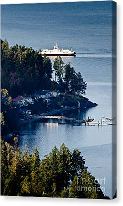 Mill Bay Ferry Passing Sandy Beach Rd Vancouver Island Bc Canada Canvas Print