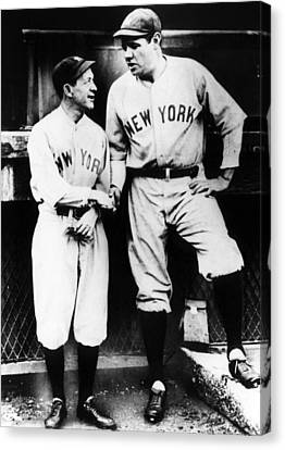 Miller Huggins, And Babe Ruth, Circa Canvas Print by Everett