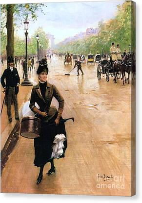 Milliner On The Champs Elys'ees Canvas Print by Pg Reproductions