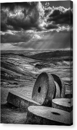 Millstones On The Moor Canvas Print by Andy Astbury