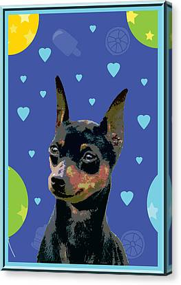 Minature Pinscher Canvas Print by One Rude Dawg Orcutt