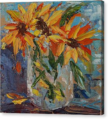 Mini Sunflowers In A Mason Jar Canvas Print