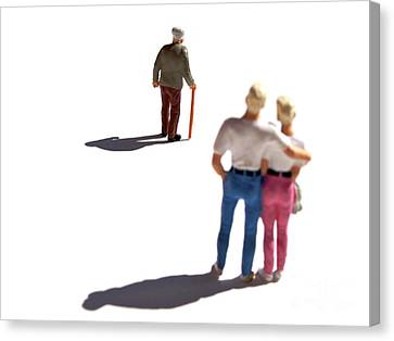 Observer Canvas Print - Miniature Figurines Couple Watching Elderly Man by Bernard Jaubert