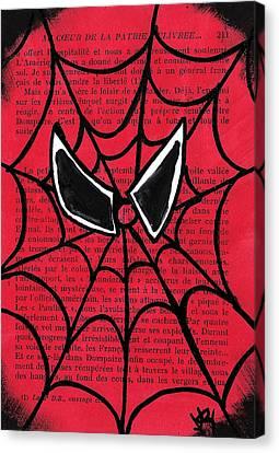 Minimal Spiderman Canvas Print by Jera Sky