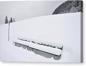 Minimalist Winter Landscape With Lots Of Snow Canvas Print by Matthias Hauser