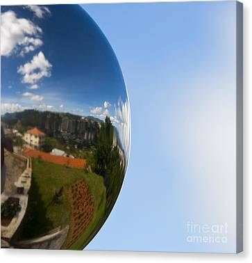 Curve Ball Canvas Print - Mirrored Ball With Reflection Of Landscape by David Buffington