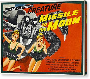 Horror Fantasy Movies Canvas Print - Missile To The Moon, Half-sheet Poster by Everett