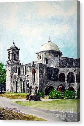 Canvas Print featuring the painting Mission San Jose Two by Tom Riggs