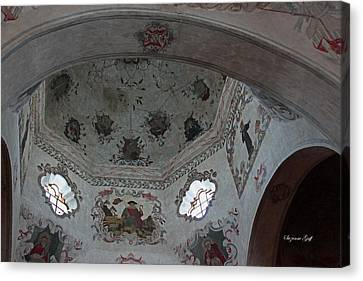 Mission San Xavier Del Bac - Vaulted Ceiling Detail Canvas Print by Suzanne Gaff