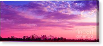 Mississippi River Bridge At Twilight Canvas Print