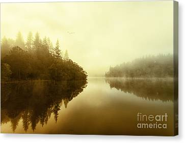 Mist Across The Water Loch Ard Canvas Print