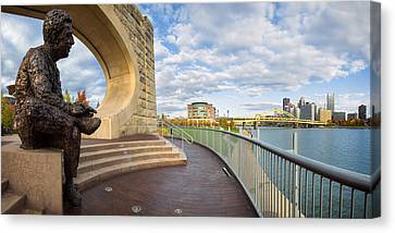 Allegeny River Canvas Print - Mister Rogers Statue by Emmanuel Panagiotakis