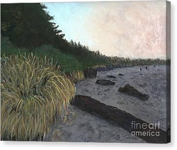 Misty Beach Canvas Print by Ginny Neece